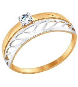 Кольцо из золота с фианитом 017467