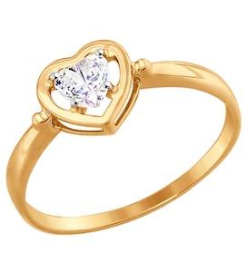 Кольцо из золота с фианитом 017475
