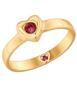 Кольцо из золота с красными фианитами 017537