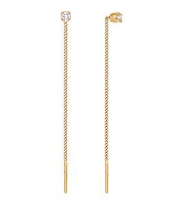 Серьги-цепочки из золота с фианитами 020609