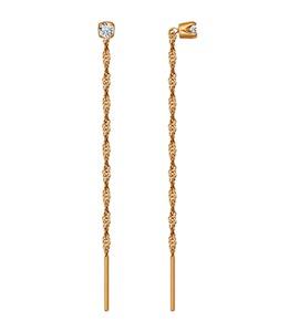 Серьги-цепочки из золота с фианитами 020610