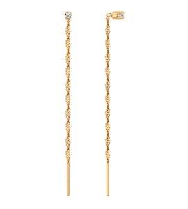 Золотые серьги-продёвки с фианитом 020612
