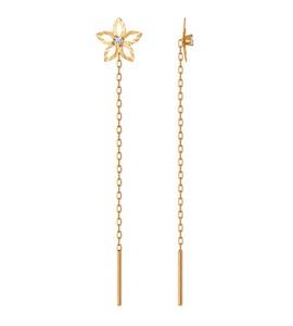 Серьги-цепочки из золота с алмазной гранью с фианитами 022668
