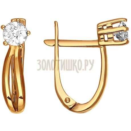 Серьги из золота с фианитами 024424