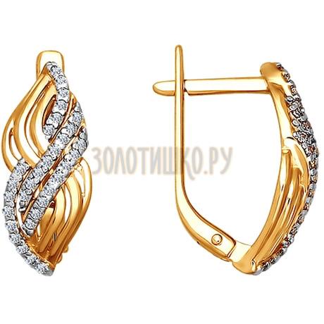 Серьги из золота с фианитами 024537