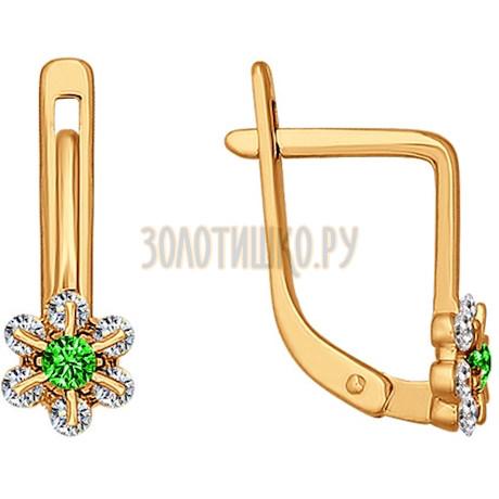 Серьги из золота с зелеными фианитами 024596
