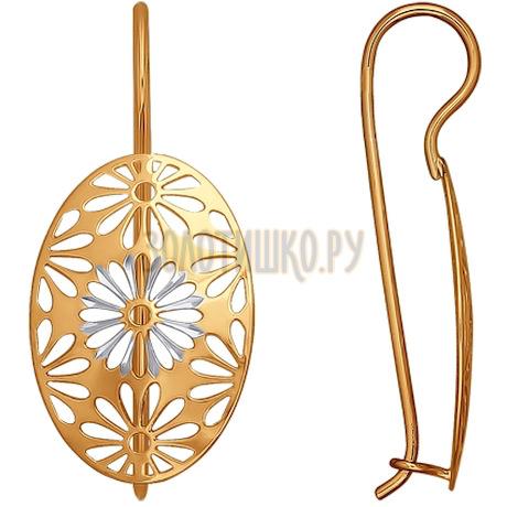 Серьги-продевки из золота с алмазной гранью 024827