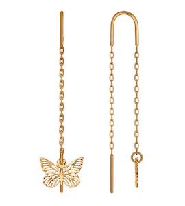 Женские серьги-продевки с бабочкой из золота 025416