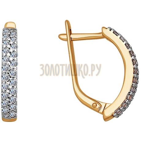 Серьги из золота с фианитами 025673