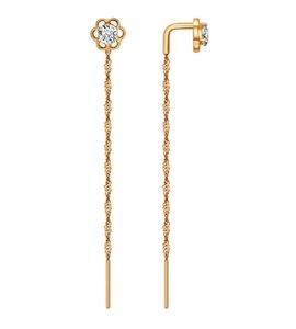 Серьги-цепочки из золота с фианитами 025969
