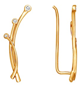Серьги из золота с фианитами 026397