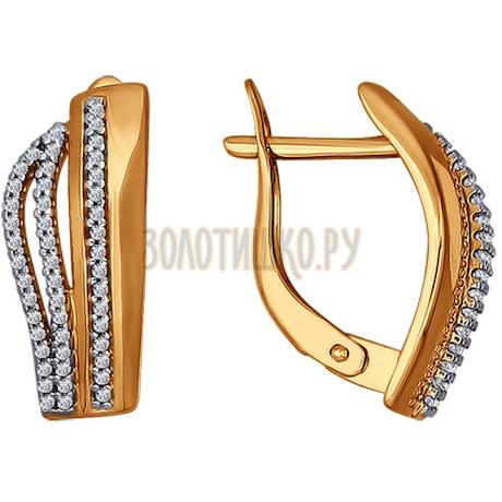 Серьги из золота с фианитами 026544