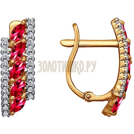 Серьги из золота с красными фианитами 026558
