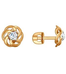 Серьги-пусеты из золота с фианитами 027459