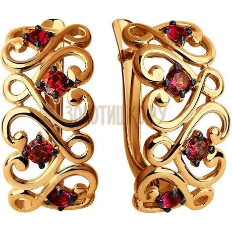 Серьги из золота с красными фианитами 027559