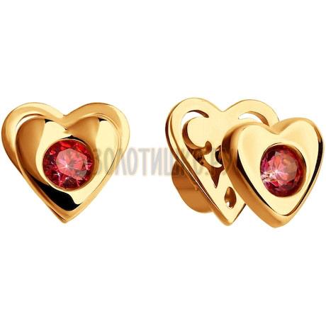 Серьги из золота с красными фианитами 027567