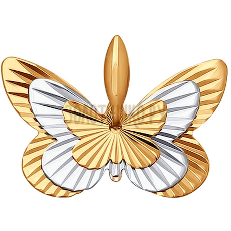 Подвеска из комбинированного золота с алмазной гранью 030760