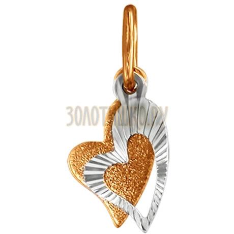 Подвеска из комбинированного золота с алмазной гранью 030862