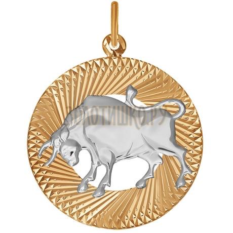 Подвеска знак зодиака из комбинированного золота с алмазной гранью «Телец» 031212