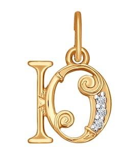 Подвеска-буква из золота с фианитами 033835