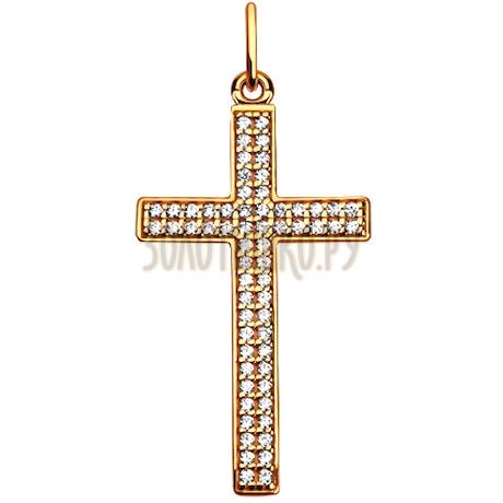 Крест из золота c фианитами в два ряда 033934