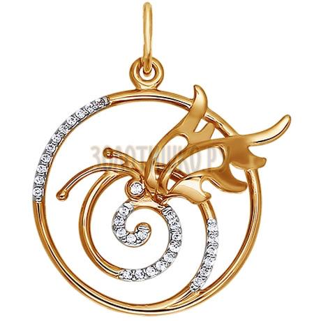 Круглая золотая подвеска с композицией 034121