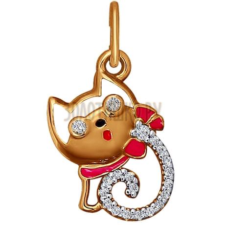Подвеска из золота с эмалью с фианитами 034631