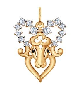 Золотая подвеска «Знак зодиака Овен» 035123