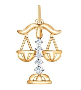 Золотая подвеска «Знак зодиака Весы» 035129