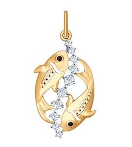 Золотая подвеска «Знак зодиака Рыбы» 035135