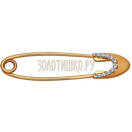 Брошь из золота с фианитами 040154