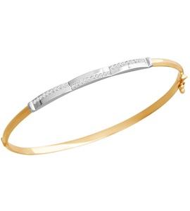 Жёсткий браслет из комбинированного золота 050224