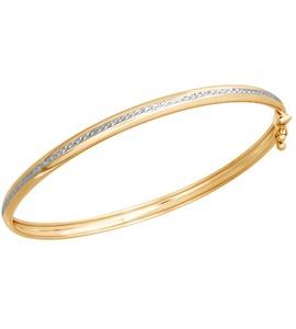 Золотой жесткий браслет с алмазной гранью 050367