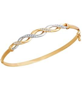 Золотой женский браслет с фианитами 050660
