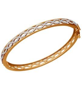 Браслет жёсткий из золота с фианитами 050785