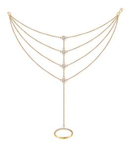 Слейв-браслет из золота с фианитами 050826