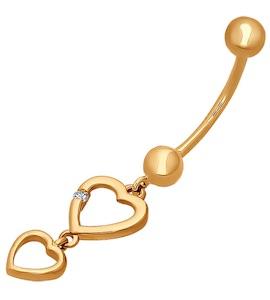Золотое украшение для пирсинга пупка 060160