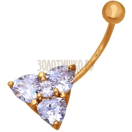 Пирсинг в пупок из золота с фианитами 060189