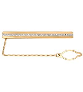 Зажим для галстука из золота с алмазной гранью 090028