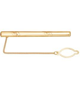 Золотой зажим для галстука с декоративной алмазной гранью 090033