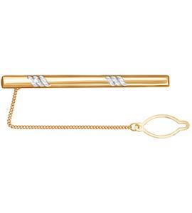 Золотой зажим для галстука с алмазной гранью 090035
