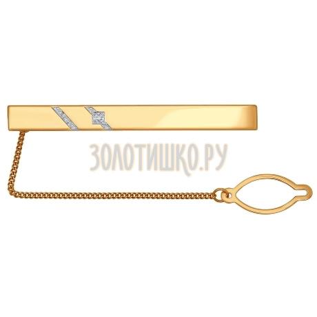 Зажим для галстука из золота с двумя дорожками фианитов 090041