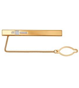 Золотой зажим для галстука с фианитами выложенными в узор 090045