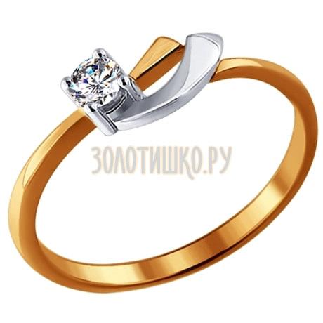 Кольцо из комбинированного золота с бриллиантом 1010172