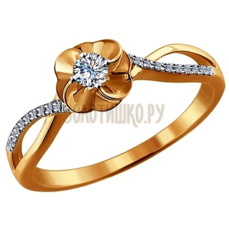 Золотое кольцо с цветком 1011433