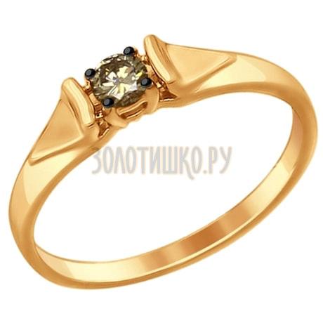Кольцо из золота с коньячным бриллиантом 1011638
