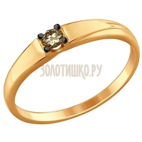 Кольцо из золота с коньячным бриллиантом 1011639