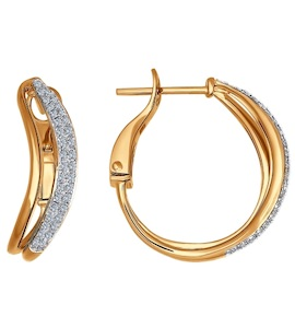 Серьги-колечки из золота c бриллиантами 1020774