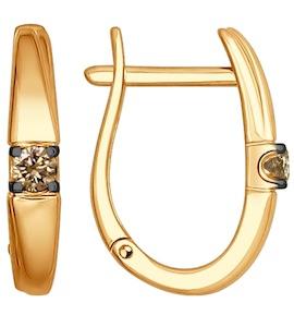 Серьги из золота с коньячными бриллиантами 1021151