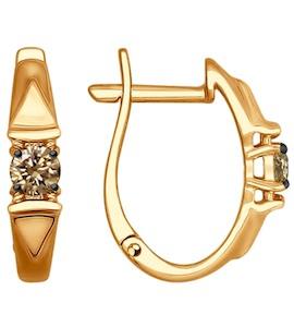 Серьги из золота с коньячными бриллиантами 1021152